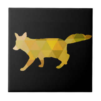 Mustard Yellow Fox Geometric Art Tile