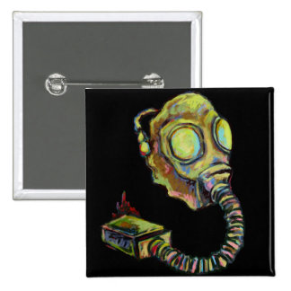 Mustard Yellow, Gas Mask Art Products Buttons