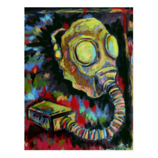 Mustard Yellow, Gas Mask Art Products Postcard