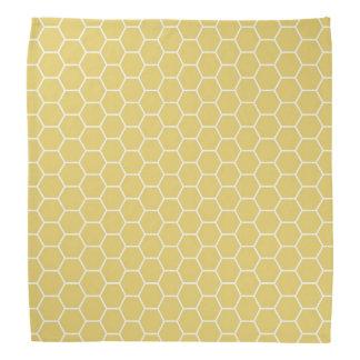 Mustard Yellow Geometric Honeycomb Hexagon Pattern Bandana