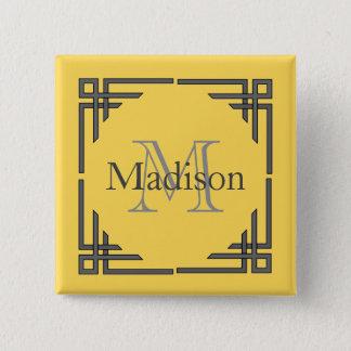Mustard Yellow Gray Geometric Border Monogram Name 2 Inch Square Button