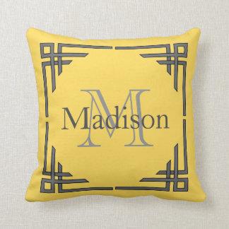 Mustard Yellow Gray Geometric Border Monogram Name Throw Pillow