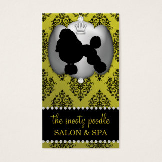 Mustard Yellow Jeweled Damask Dog Grooming/Spa Business Card