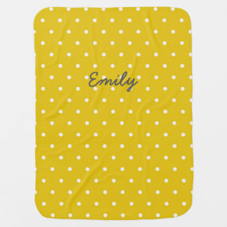 Mustard Yellow Personalized Polka Dot Baby Blanket