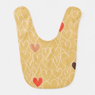 Mustard Yellow Scribble Heart Pattern Baby Bibs