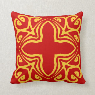 mustard yellow spanish tile on red pillow