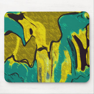 Mustard Yellow Teal Abstract Mouse Pad