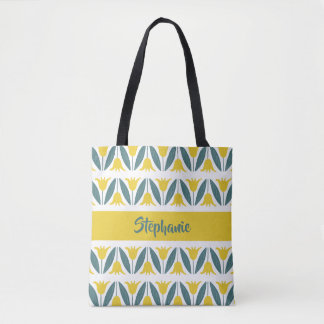 Mustard Yellow Tulips Floral Pattern Tote Bag