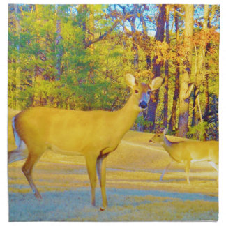 Musturd Colored Deer with light blue Cloth Napkins