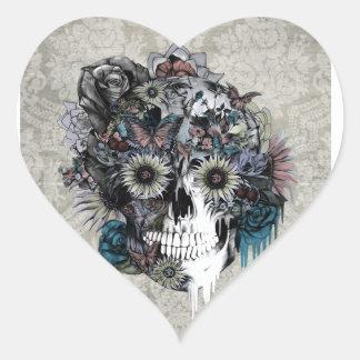 Mute, sunflower skull damask heart sticker