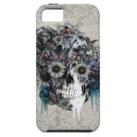 Mute, sunflower skull damask iPhone 5/5S cover