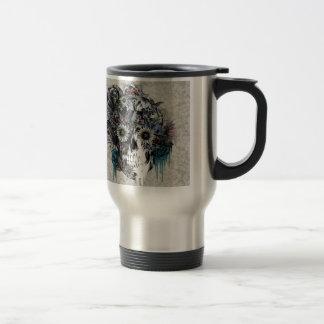 Mute, sunflower skull damask travel mug