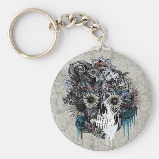 Mute, sunflower skull keychains