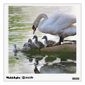 Mute swan and cygnets wall sticker