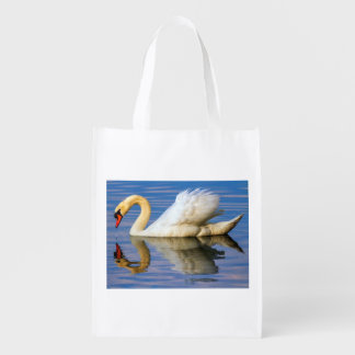 Mute swan, cygnus olor reusable grocery bag