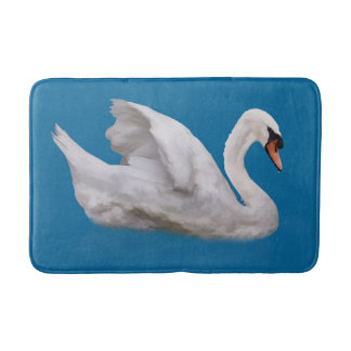 Mute Swan on Blue Bath Mat