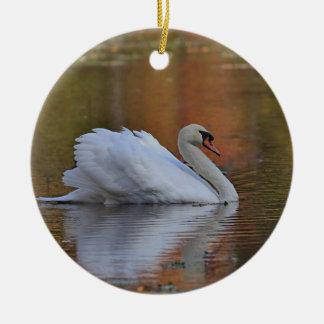 Mute swan round ceramic ornament