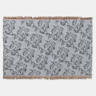 Muted Blue Gray Floral Filigree Throw Blanket