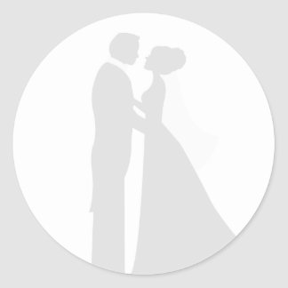 Muted Bride and Groom Wedding Seal Round Sticker