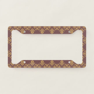 Muted Brown Floral License Plate Frame