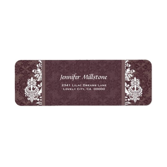 MUTED BURGUNDY Swirl Damask Wedding Address Label