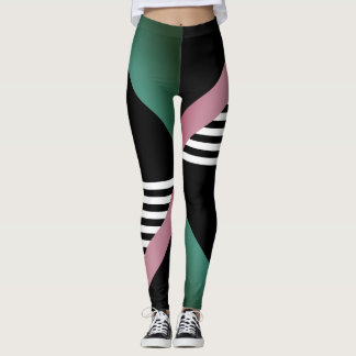 muted geometric stripes bold print leggings