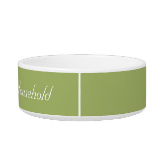 """Muted-Green """"Head of Household"""" Cat Food Dish"""