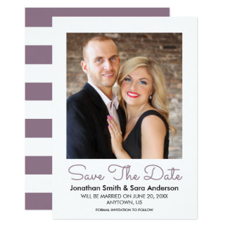 Muted Mauve Minimal Save The Date Photo Card