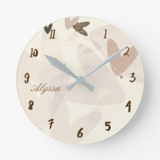 Muted Mod Hearts Whimsical Round Clock
