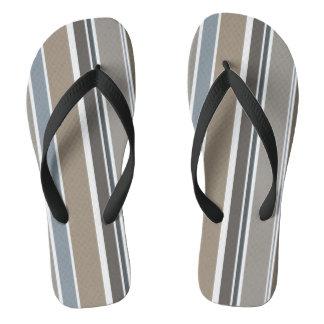 Muted Modern Stripes Flip Flops