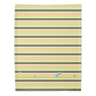 Muted Neapolitan Stripes and Hearts Duvet Cover