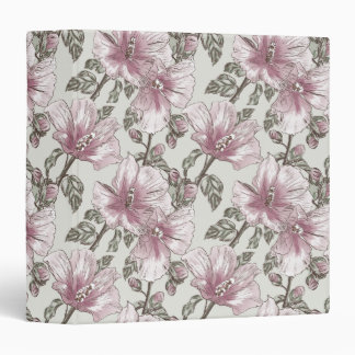 Muted Pink Hibiscus Flowers Pattern Binders