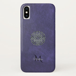 Muted Purple Leather Celtic Knot Monogram iPhone X Case