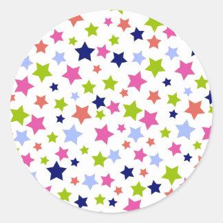 Muted Rainbow Stars on White Classic Round Sticker