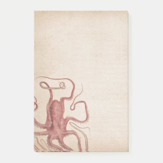 Muted Sea Rose Pink Steampunk Octopus Nature Post-it Notes