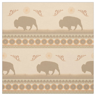 Muted tribal Bison Fabric