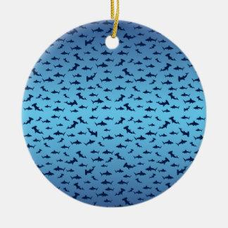 Mutilple Hammer Head Sharks Ceramic Ornament