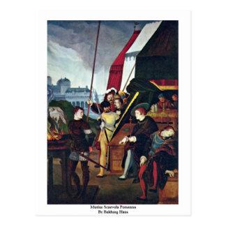 Mutius Scaevola Porsenna By Baldung Hans Postcard