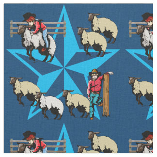 Mutton Bustin Rodeo Western Fabric