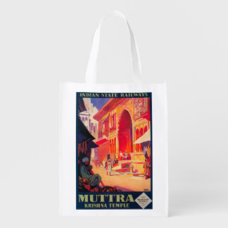 Muttra Krishna Temple Travel Poster Reusable Grocery Bags