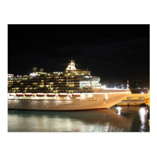 MV Ventura Cruise Ship at Night Postcard