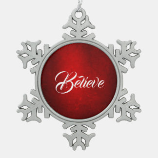 MVB  Believe Gradent Red Silk Effect  Design Snowflake Pewter Christmas Ornament