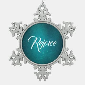 MVB  Gradent Blue Silk Effect/ Rejoice  Design Snowflake Pewter Christmas Ornament