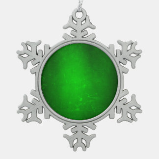 MVB  Gradent Green Silk Effect  Design Snowflake Pewter Christmas Ornament