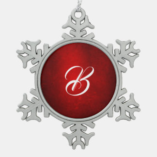 MVB  Monogram Gradent Red Silk Effect  Design Snowflake Pewter Christmas Ornament