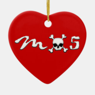 MX5 skull Ceramic Heart Ornament