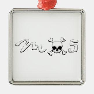 MX5 skull Silver-Colored Square Ornament