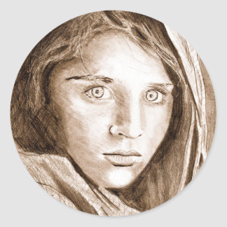 My 2004 Pencil Drawing Afghan Refugee Girl Classic Round Sticker