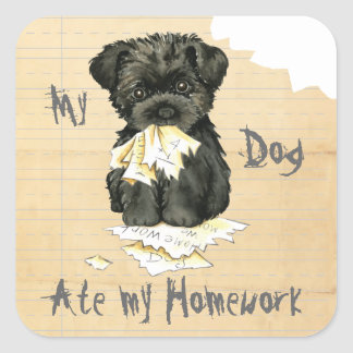My Affenpinscher Ate My Homework Square Sticker
