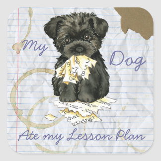 My Affenpinscher Ate My Lesson Plan Square Sticker